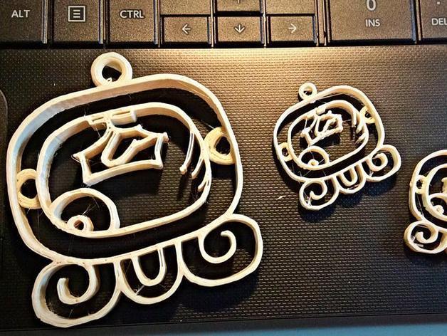 Kej Nahual标志吊坠 3D模型  图1