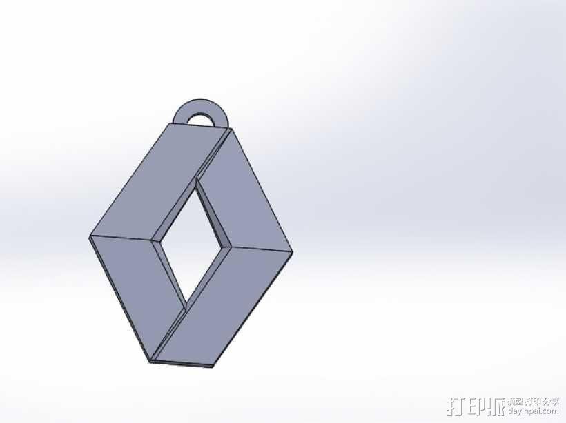 Renault 雷诺汽车标志 钥匙坠 3D模型  图1