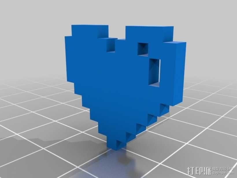 像素心 心形吊坠 3D模型  图1