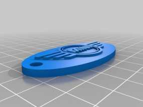 mini cooper椭圆形汽车钥匙坠 3D模型