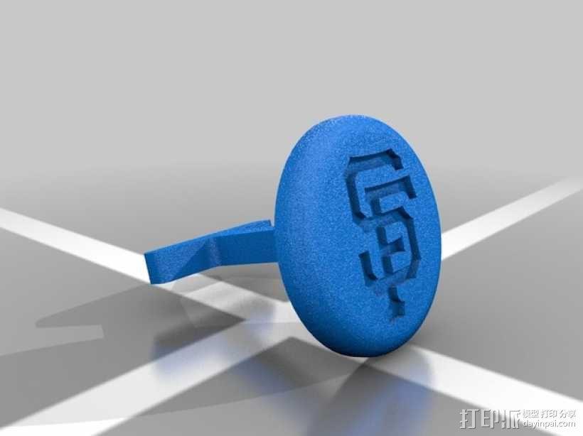 旧金山巨人队Logo袖扣 3D模型  图1