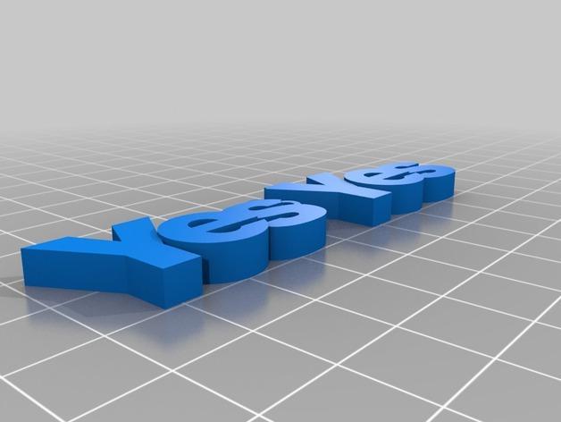 YES字母耳坠 3D模型  图3