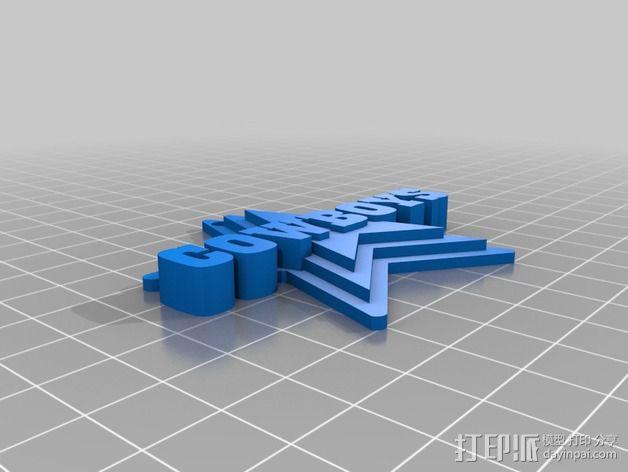 COWBOYS钥匙坠 3D模型  图2