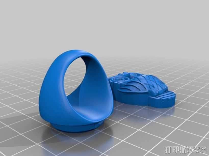 猫头鹰 戒指 3D模型  图1