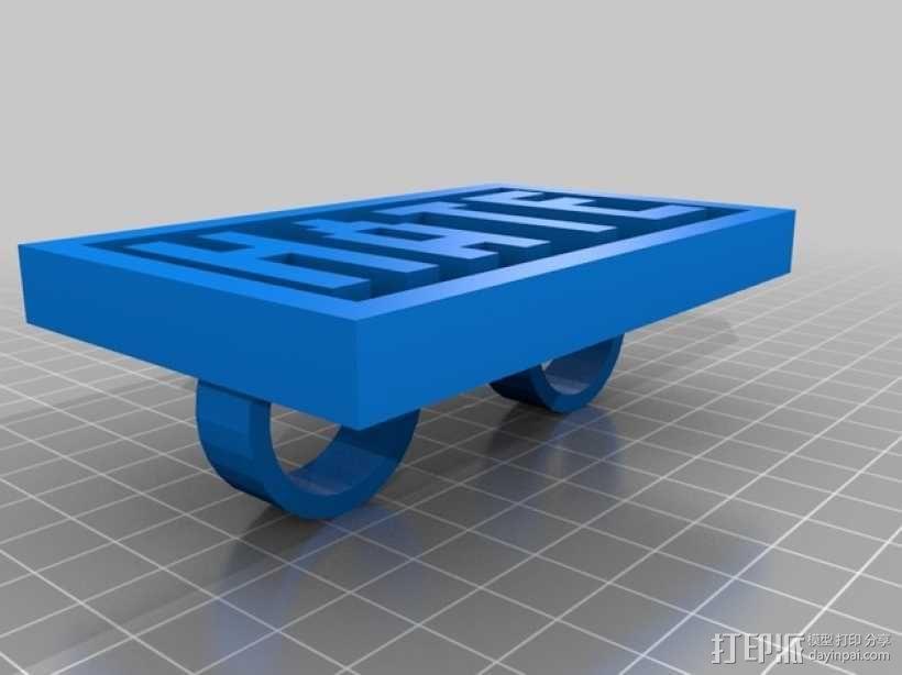 字母指节套环 3D模型  图1