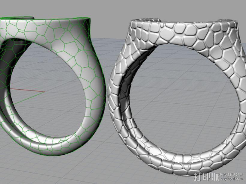 泰森多边形图案 戒指 3D模型  图1
