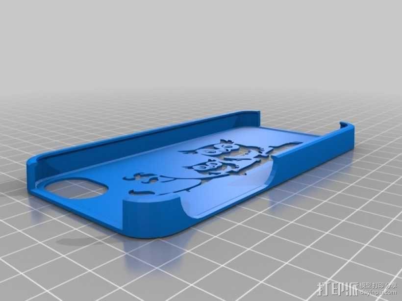 猫头鹰妈妈和猫头鹰宝宝  iPhone 5手机保护套 3D模型  图1