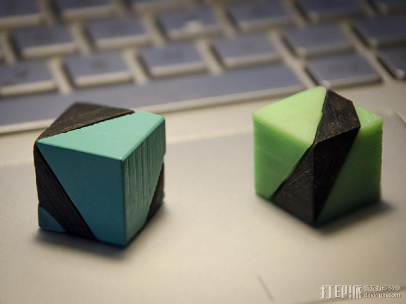 立方体 戒指 3D模型  图1