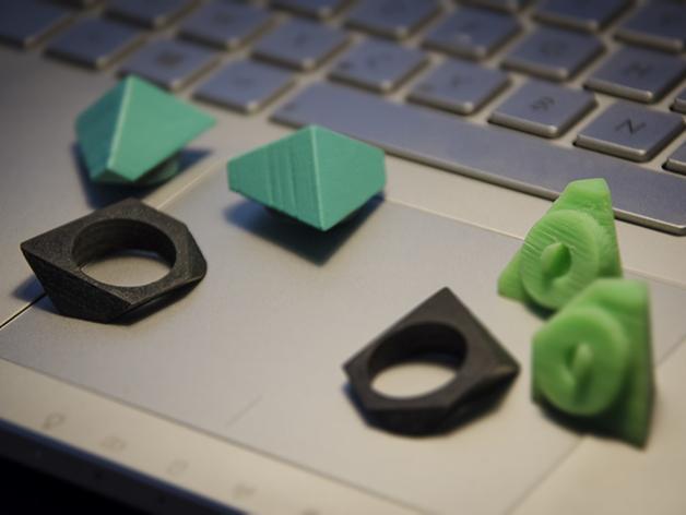 立方体 戒指 3D模型  图2