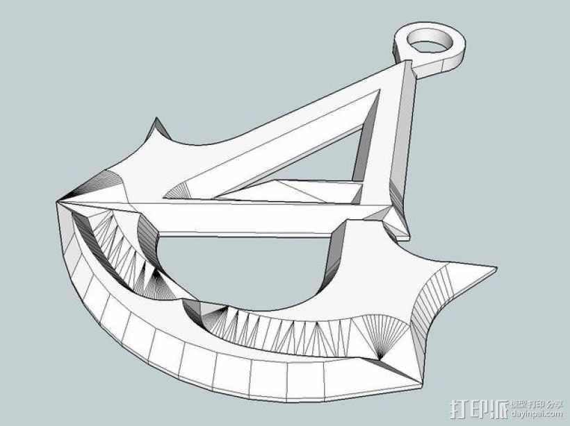 刺客信条 标志 钥匙坠 3D模型  图1