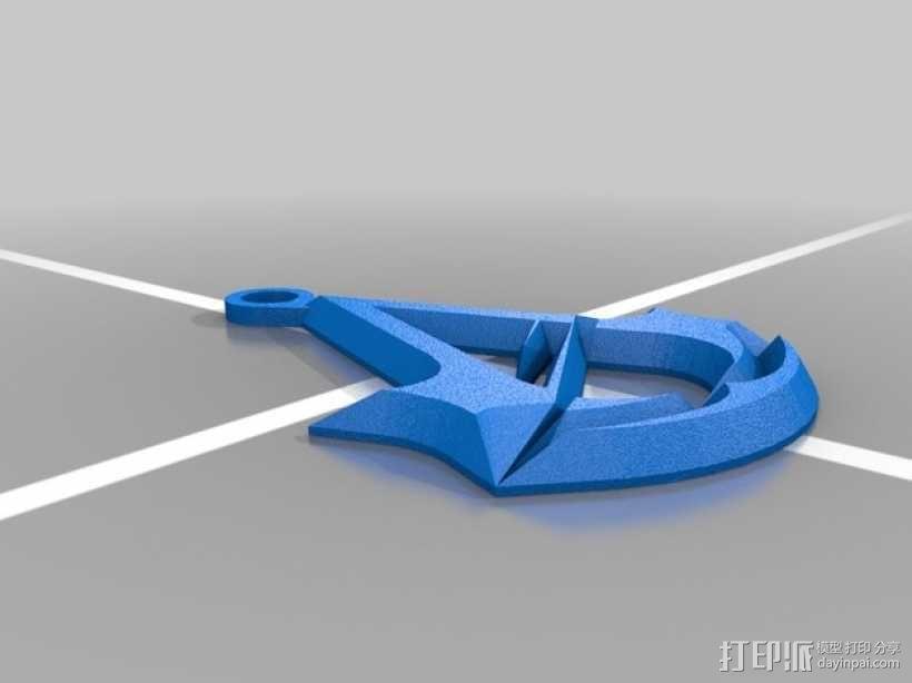 刺客信条 标志 钥匙坠 3D模型  图2