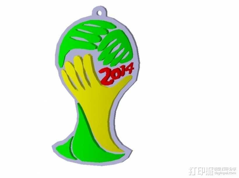 世界杯标志 钥匙坠 3D模型  图3