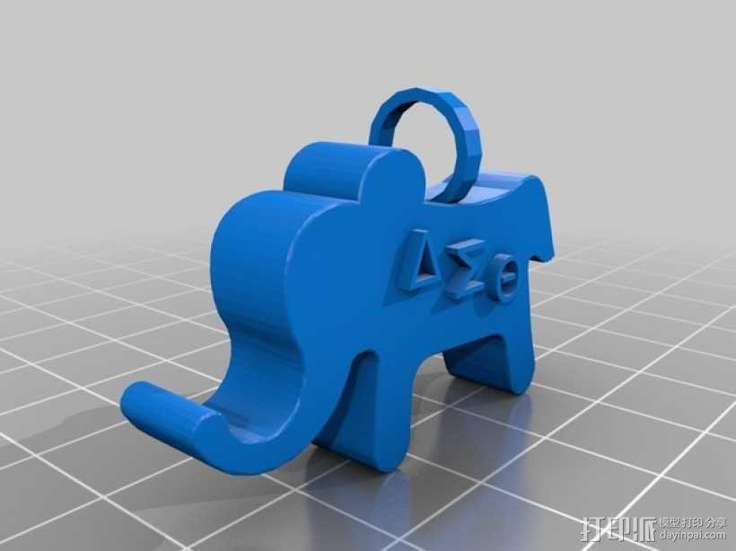 大象吊坠 3D模型  图1