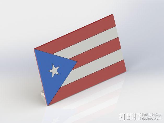 波多黎各国旗 摆件 3D模型  图6