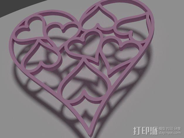 心形挂件 3D模型  图1
