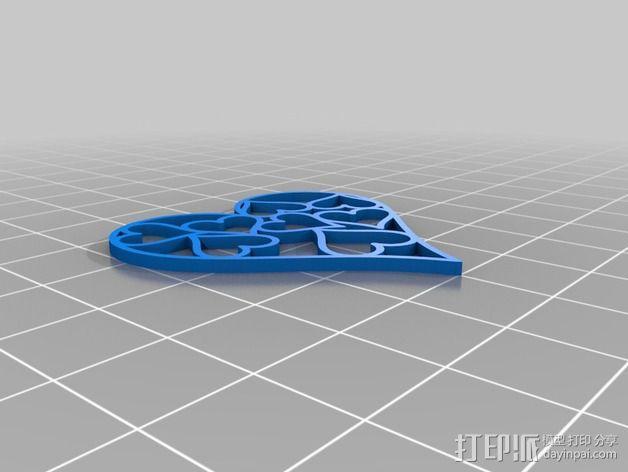 心形挂件 3D模型  图2