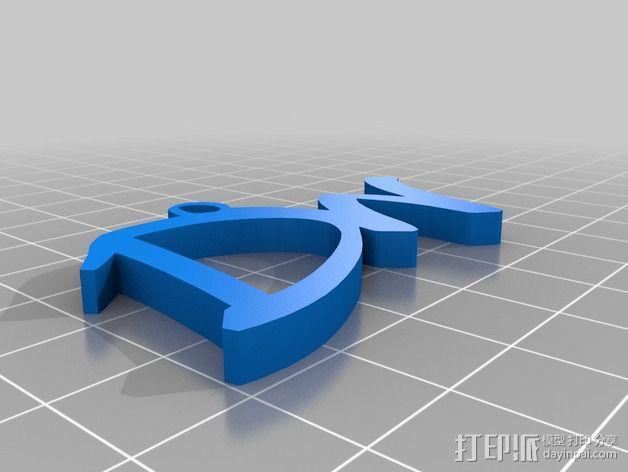 大写字母组合吊坠 3D模型  图2