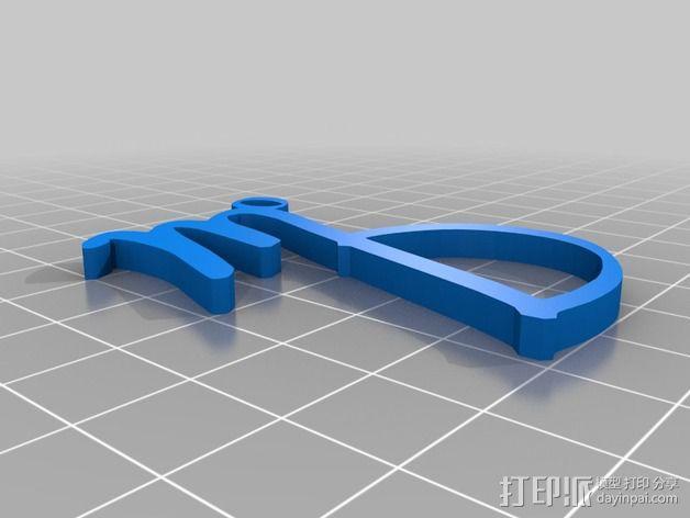 大写字母组合吊坠 3D模型  图4