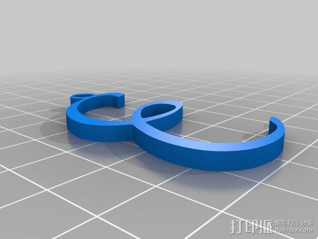 大写字母组合吊坠 3D模型  图7