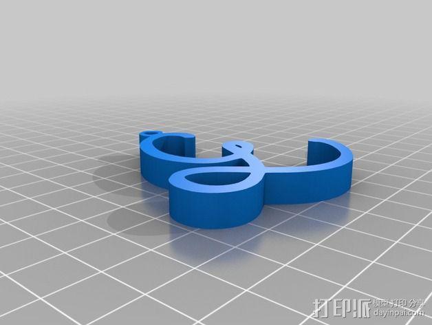 大写字母组合吊坠 3D模型  图9
