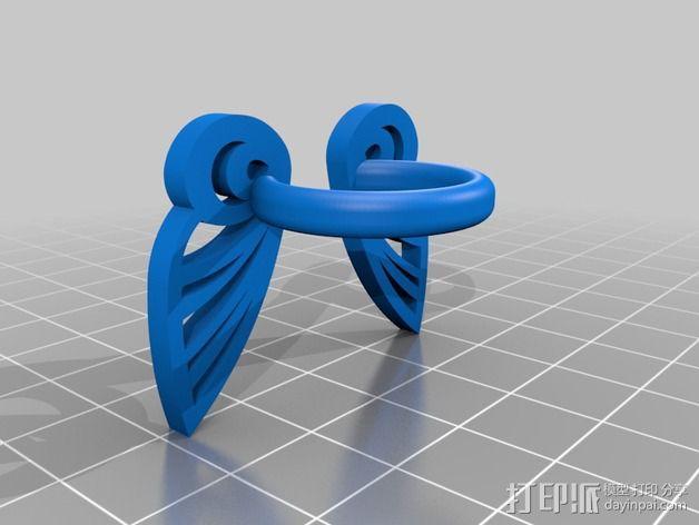 蝴蝶翅膀戒指 3D模型  图2