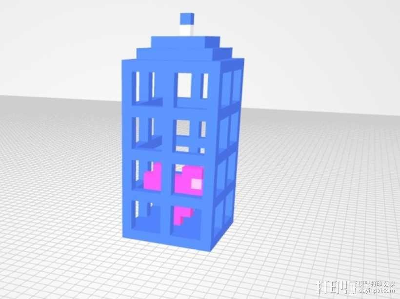 警察亭 耳坠 3D模型  图1