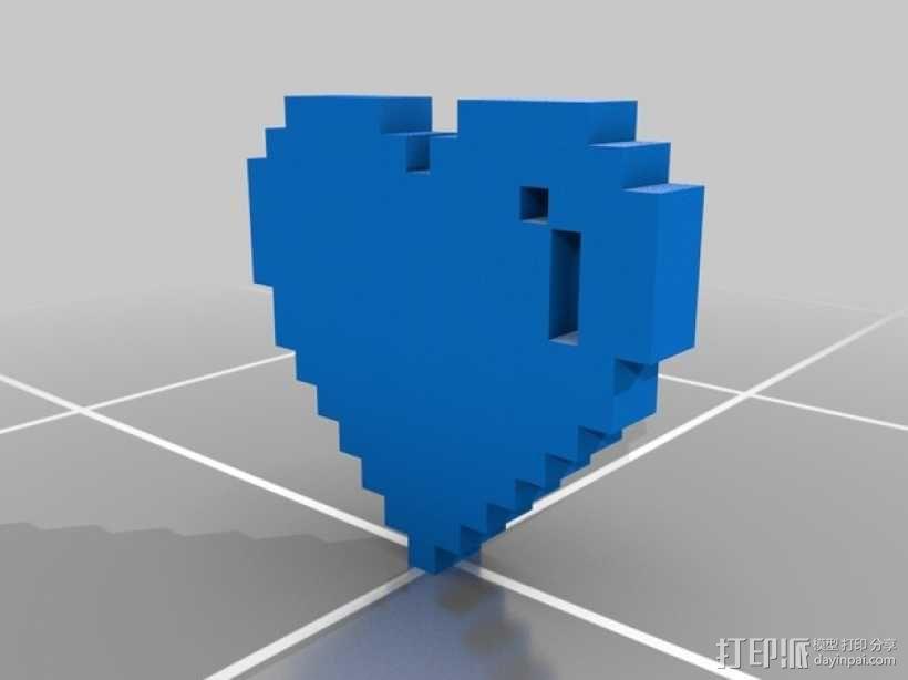 像素心 挂件 3D模型  图1