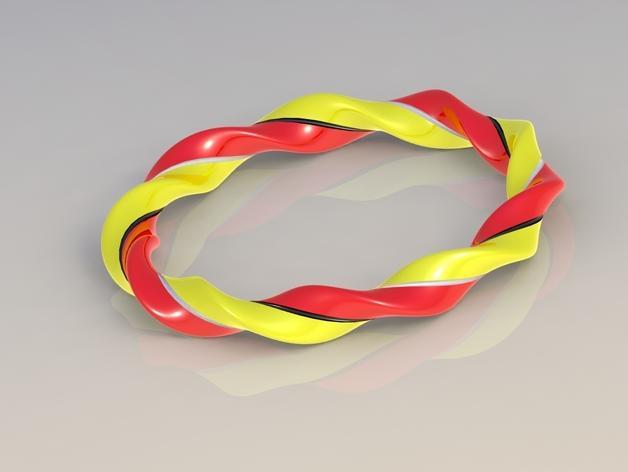 椭圆形螺旋手镯 3D模型  图1
