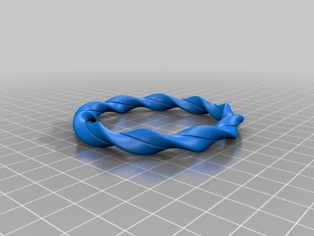 椭圆形螺旋手镯 3D模型  图2