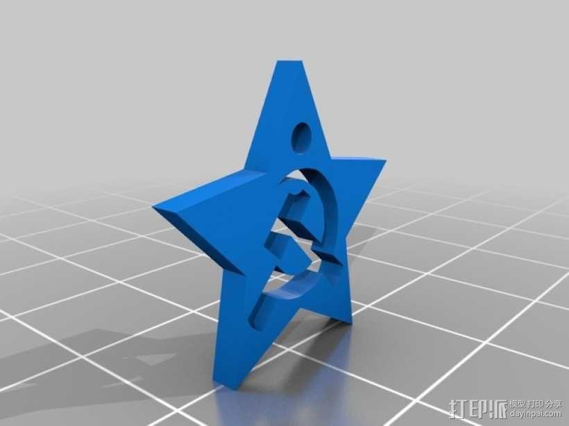 锤子和镰刀吊坠 3D模型  图2