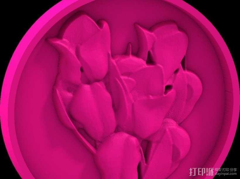 鲜花 吊坠 3D模型  图1