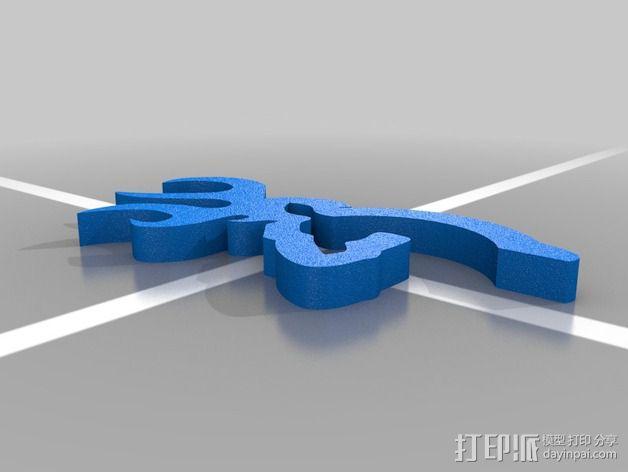 browning 商标标志 3D模型  图1