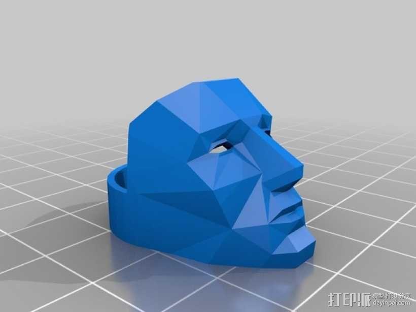 低面数面具戒指 3D模型  图1