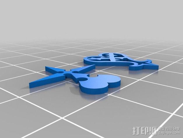 破碎的心 标志 3D模型  图1