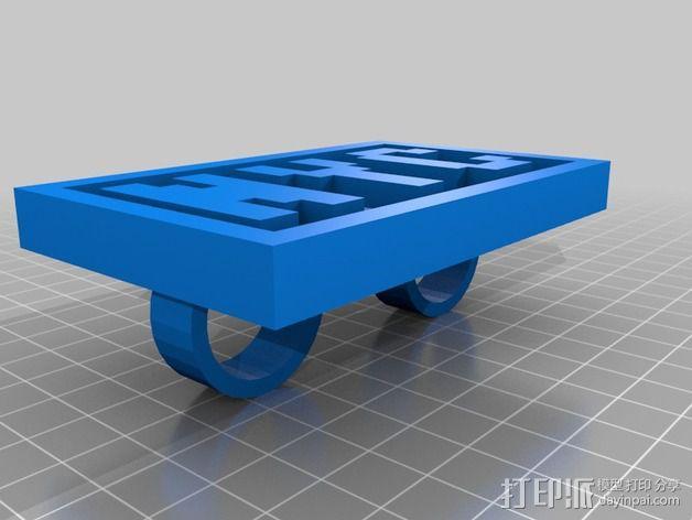 NYC字母 指节环 3D模型  图1
