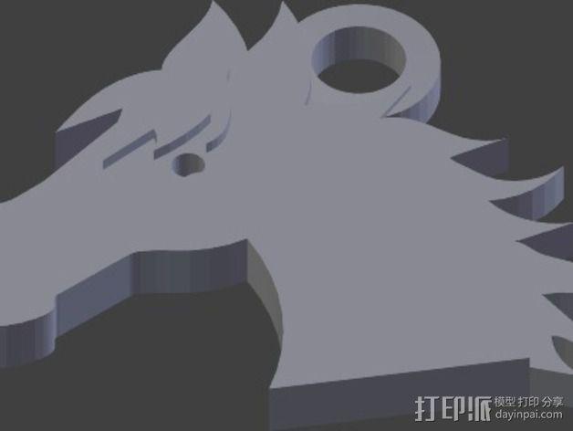 马头 钥匙坠 3D模型  图2