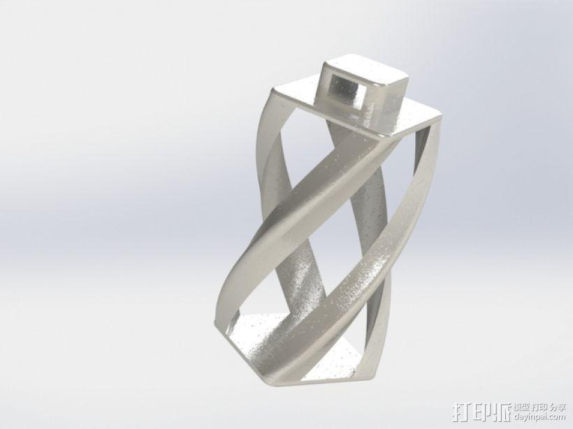螺旋扭曲坠饰 3D模型  图1