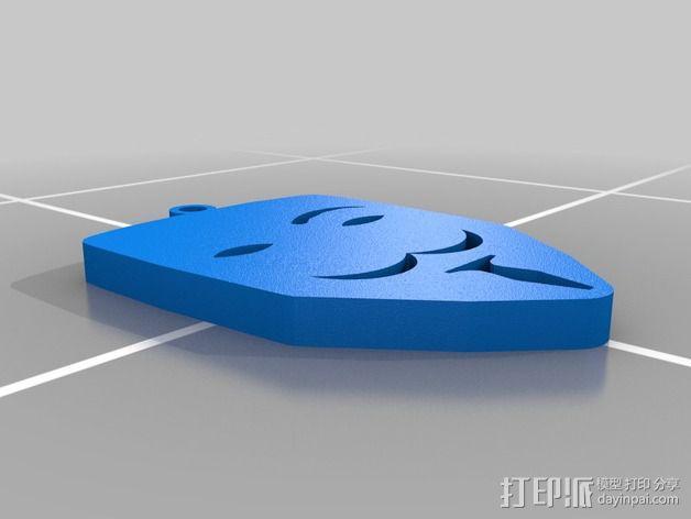 v字仇杀队钥匙扣 3D模型  图1
