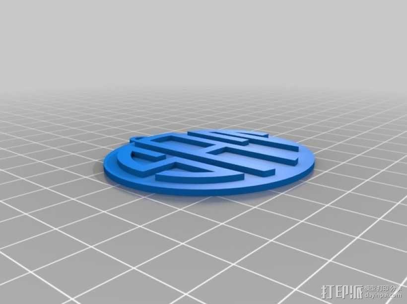 交织字母吊坠 3D模型  图1
