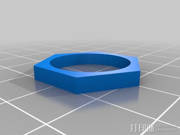 六边形戒指 3D模型  图2