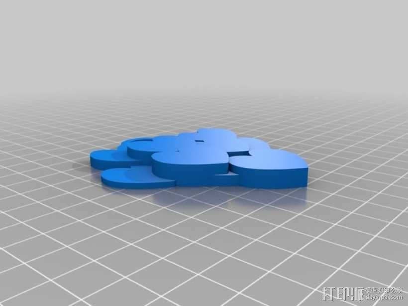 桃心 项链坠 3D模型  图3