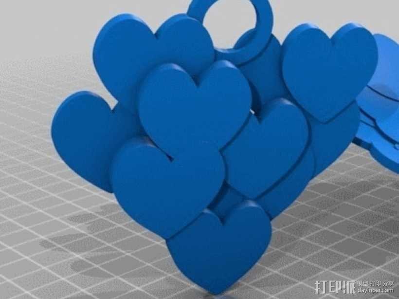 桃心 项链坠 3D模型  图4