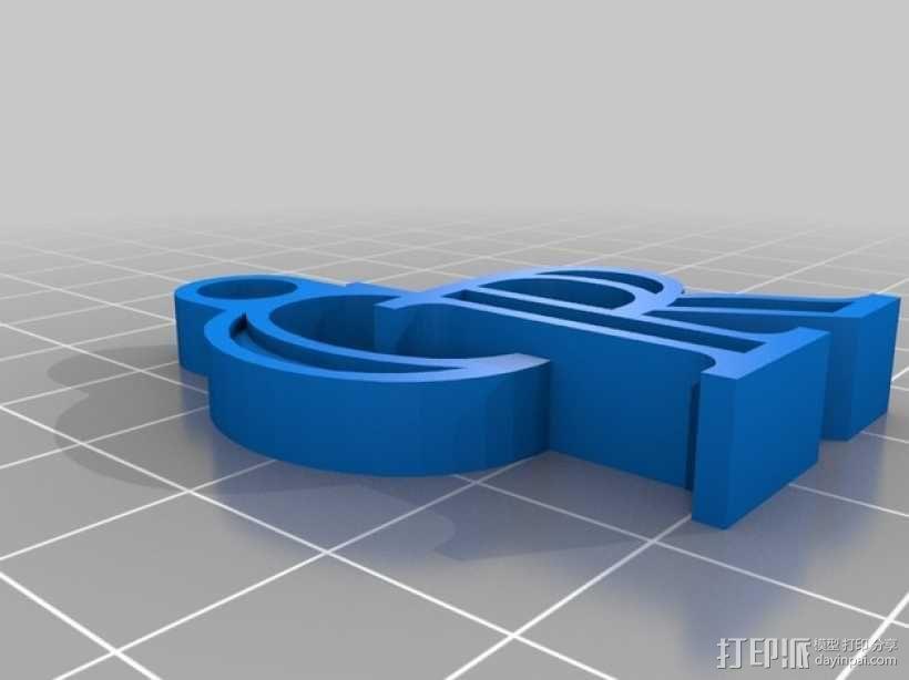 科罗拉多洛基山队 标志 钥匙扣 3D模型  图1