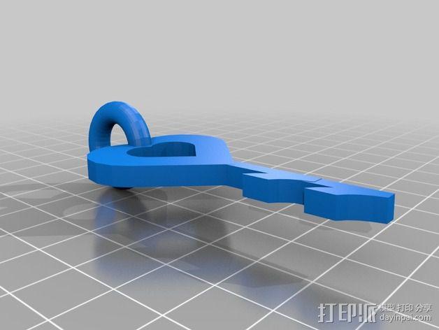 桃心钥匙 坠饰 3D模型  图3