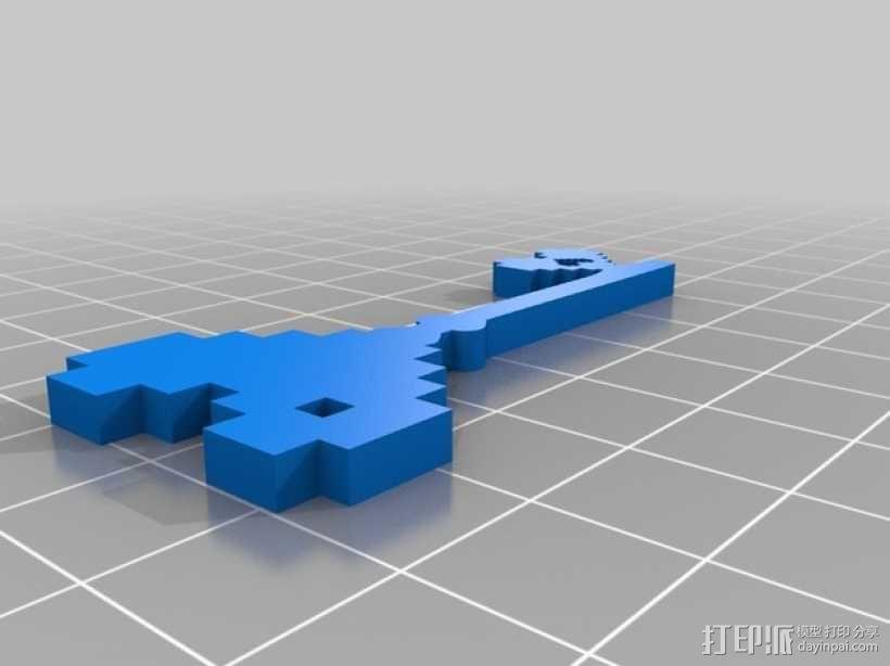 桃心钥匙 吊坠 3D模型  图1
