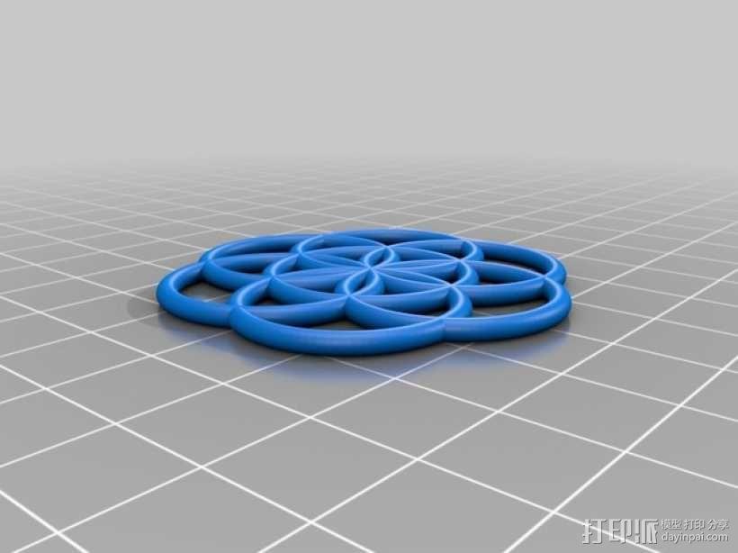 生命之花 项链坠 3D模型  图2