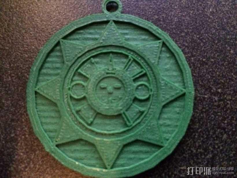 Aztec 阿兹特克人太阳石挂件 3D模型  图1