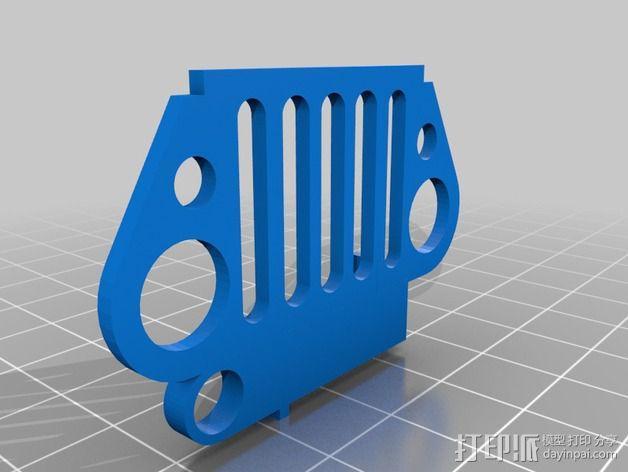 吉普车前杠 钥匙扣 3D模型  图1