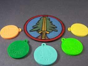 树形徽章钥匙链 3D模型