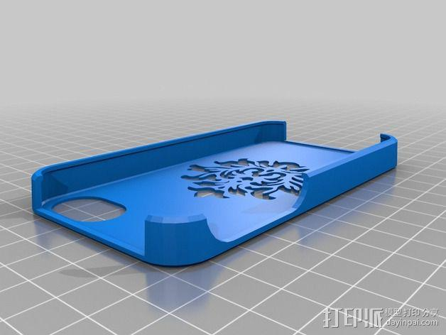 锦缎花纹Iphone4手机套 3D模型  图1